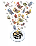 下来排泄货币 免版税图库摄影