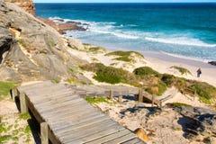 下来木台阶对海滩 图库摄影