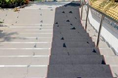 下来楼梯与黑地毯 库存照片