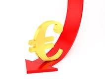 下来欧元 库存图片