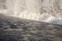 下来浮动冰的小河 免版税库存图片