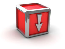 下来箭头配件箱红色 免版税库存图片