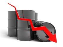 下来箭头石油 免版税库存照片
