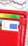 下来绘制红色钱包 免版税库存照片