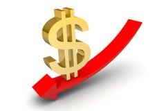 下来美元的符号箭头 免版税库存照片