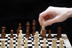 下棋比赛和手的起点 图库摄影