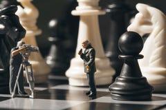 下棋比赛网上广播摄制下棋比赛过程 库存图片