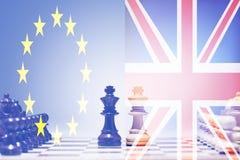 下棋比赛英国和欧盟 库存照片