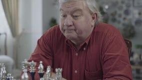 下棋的一个成人灰发的人的画象 股票录像