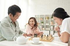 下棋的前辈 库存图片