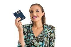 下次旅行的妇女梦想 她白肤金发和美丽 免版税库存图片