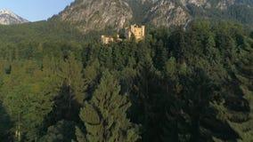 下沉在森林城堡日落空中4k 股票视频