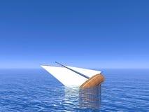下沉的小船- 3D回报 库存照片