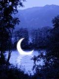 下沉的月亮蚀 库存照片