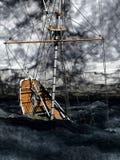 下沉的海盗双桅帆船 库存图片