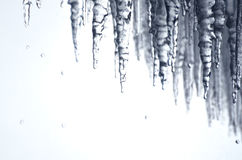 滴下用在尼亚加拉瀑布后的水的冷的冰柱 免版税库存图片