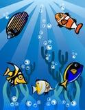 水下的世界动画片例证 库存照片