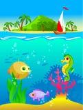水下的世界的例证 免版税库存照片