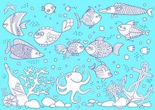水下的世界着色  库存图片