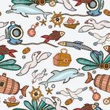 水下的五颜六色的板刻热带无缝的样式 免版税图库摄影