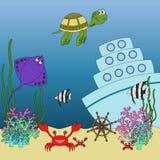 水下的动物和鱼例证 免版税库存照片