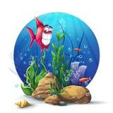 水下的岩石的例证与海草和鱼乐趣的 图库摄影