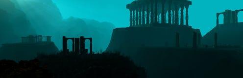 水下的废墟全景 免版税库存照片