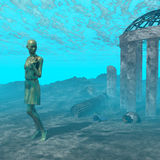 水下的废墟场面 皇族释放例证
