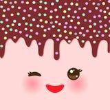 滴下的熔化巧克力釉与洒 与眼睛和微笑的Kawaii逗人喜爱的面孔 您的文本的桃红色背景 向量 皇族释放例证