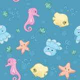 水下的生物的无缝的样式 免版税库存图片