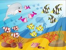 水下的鱼人群 免版税库存图片