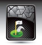 下背景破裂的高尔夫球漏洞一银 免版税库存照片