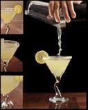 下落柠檬马蒂尼鸡尾酒 库存照片