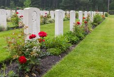 下落的加拿大战士坟墓  库存图片