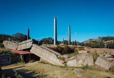 下落的石碑在阿克苏姆埃塞俄比亚 免版税库存图片