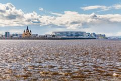 下诺夫哥罗德体育场看法  免版税库存照片