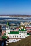 下诺夫哥罗德和伏尔加河早期的春天 免版税库存照片