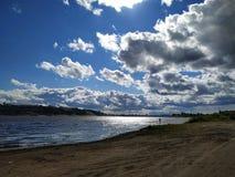 下诺夫哥罗德看法从伏尔加河的左岸的 库存照片