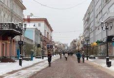 下诺夫哥罗德,俄罗斯- 2016年11月07日:步行街道叫Bolshaya Pokrovskaya街 免版税图库摄影