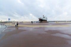下诺夫哥罗德,俄罗斯- 11月03 2015年 小船 免版税库存图片