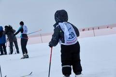 下诺夫哥罗德,俄罗斯- 2017年2月11日:滑雪竞争俄罗斯2017年 kiting的河滑雪多雪的体育运动冬天 家庭冠军 库存图片