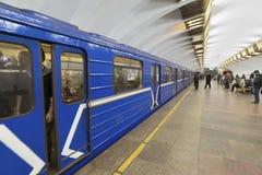 下诺夫哥罗德,俄罗斯- 02 11 2015年 火车在 免版税库存图片