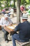 下象棋者在公园 老人在公园下棋 r 免版税库存图片