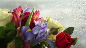 下跌在玫瑰、虹膜和德国锥脚形酒杯美丽的花束的水滴  影视素材