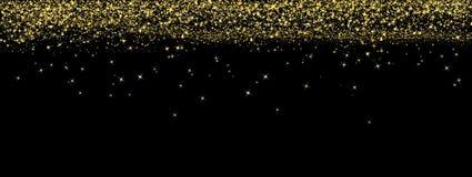 下跌在黑暗的背景横幅的摘要明亮的金黄闪烁 库存图片