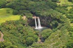 下跌夏威夷考艾岛wailua 库存图片