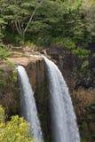 下跌夏威夷考艾岛wailua 库存照片