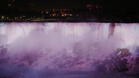 下跌尼亚加拉晚上 从加拿大海岸的看法 股票录像