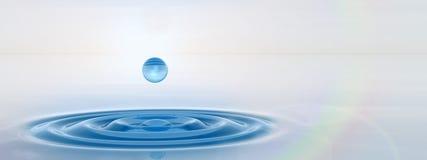 下跌概念性蓝色液体的下落在水横幅 免版税库存照片
