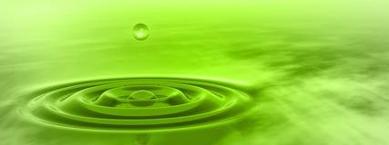 下跌概念性绿色液体的下落在水横幅 免版税库存照片